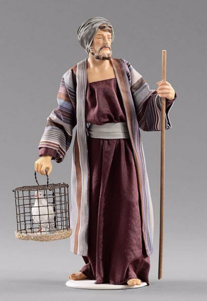 Picture of Shepherd with dove cm 20 (7,9 inch) Hannah Orient dressed nativity scene Val Gardena wood statue with fabric dresses