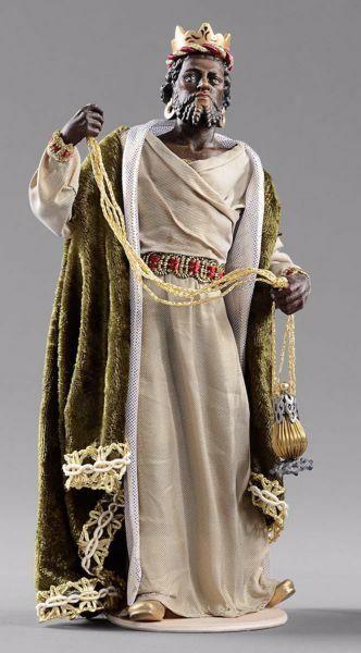 Imagen de Baltasar Rey Mago Negro  cm 20 (7,9 inch) Pesebre vestido Hannah Orient estatua en madera Val Gardena con trajes de tela