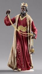 Picture of Balthazar Black Wise King cm 20 (7,9 inch) Hannah Orient dressed nativity scene Val Gardena wood statue with fabric dresses