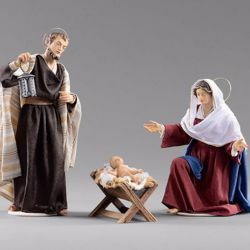 Picture of Holy Family (1) Group 3 pieces cm 20 (7,9 inch) Hannah Orient dressed nativity scene Val Gardena wood statues with fabric dresses