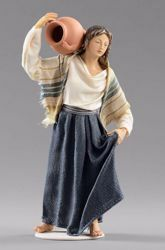 Picture of Woman with Jug cm 20 (7,9 inch) Hannah Orient dressed nativity scene Val Gardena wood statue with fabric dresses