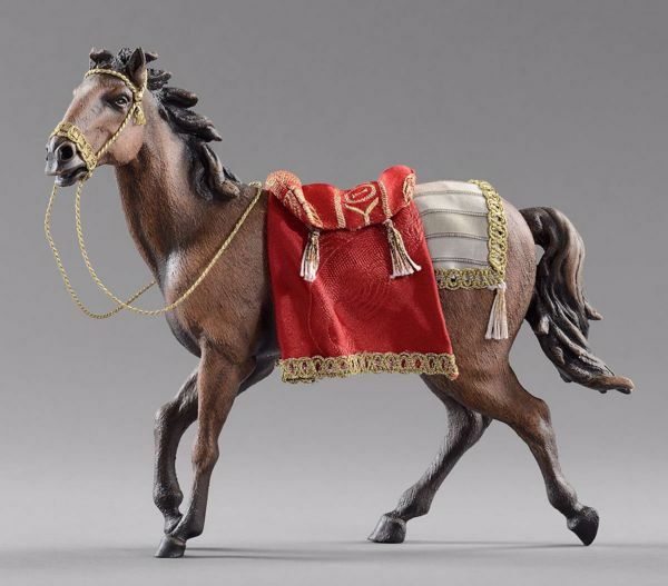 Immagine di Cavallo con sella cm 30 (11,8 inch) Presepe vestito Hannah Orient Statua in legno Val Gardena