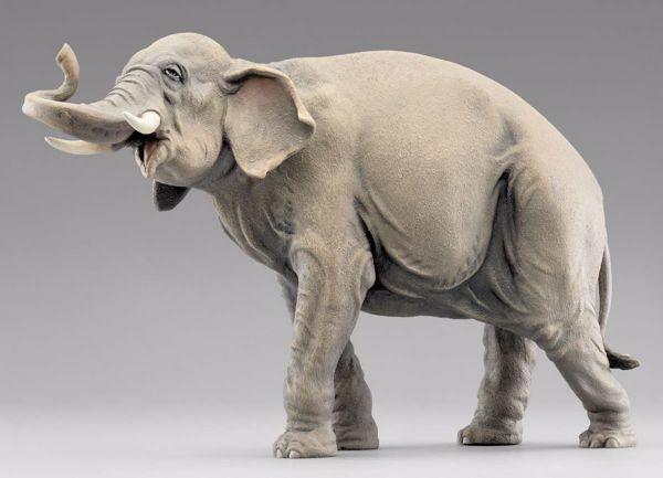 Immagine di Elefante in piedi cm 30 (11,8 inch) Presepe vestito Hannah Orient Statua in legno Val Gardena
