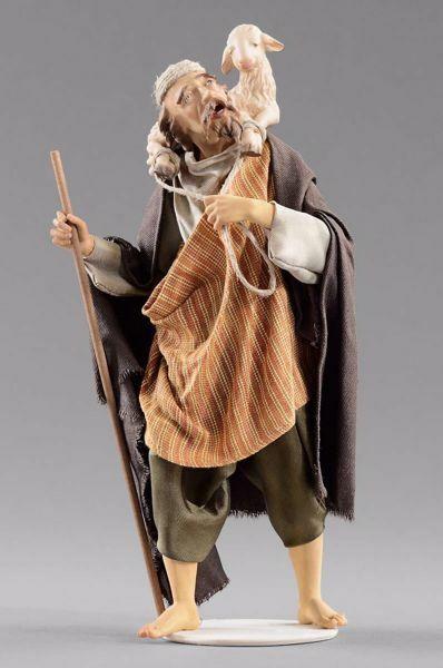 Immagine di Pastore con agnello cm 30 (11,8 inch) Presepe vestito Hannah Orient statua in legno Val Gardena abiti in tessuto
