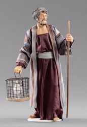 Picture of Shepherd with dove cm 30 (11,8 inch) Hannah Orient dressed nativity scene Val Gardena wood statue with fabric dresses