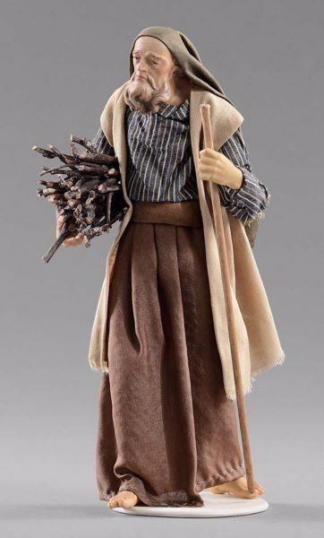 Immagine di Pastore con legna cm 30 (11,8 inch) Presepe vestito Hannah Orient statua in legno Val Gardena abiti in tessuto