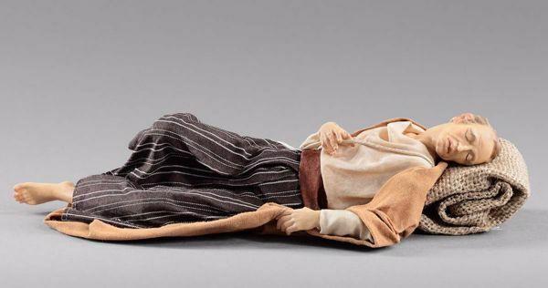Imagen de Pastor durmiente cm 30 (11,8 inch) Pesebre vestido Hannah Orient estatua en madera Val Gardena con trajes de tela