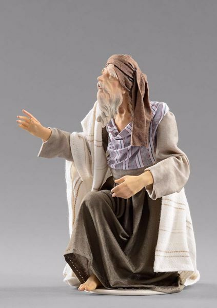 Picture of Shepherd kneeling cm 30 (11,8 inch) Hannah Orient dressed nativity scene Val Gardena wood statue with fabric dresses