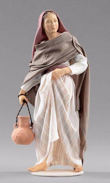 Immagine di Donna con brocca cm 30 (11,8 inch) Presepe vestito Hannah Orient statua in legno Val Gardena abiti in tessuto