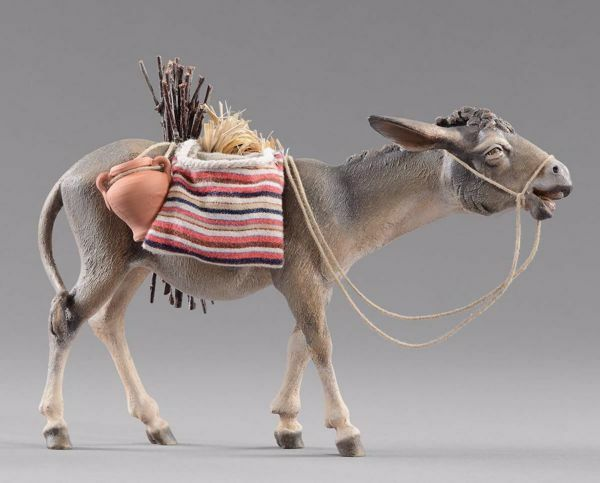 Picture of Donkey with saddlebags and wood cm 30 (11,8 inch) Hannah Alpin dressed Nativity Scene in Val Gardena wood