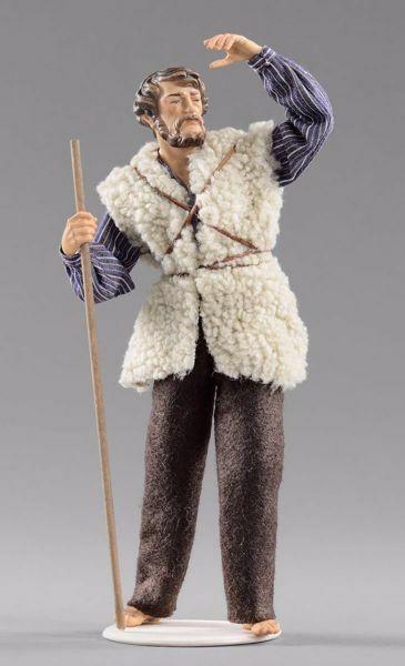 Picture of Shepherd looking cm 30 (11,8 inch) Hannah Alpin dressed nativity scene Val Gardena wood statue fabric dresses