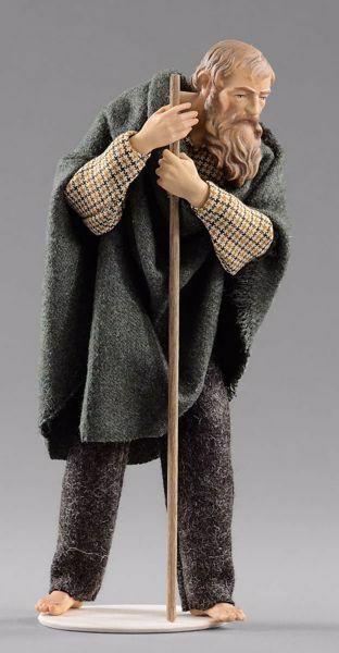 Immagine di Pastore con bastone cm 30 (11,8 inch) Presepe vestito Hannah Alpin statua in legno Val Gardena abiti in tessuto