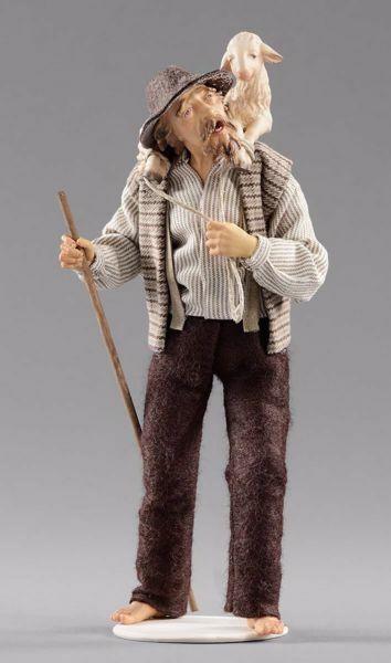 Imagen de Pastor de pie con cordero cm 30 (11,8 inch) Pesebre vestido Hannah Alpin estatua en madera Val Gardena trajes de tela