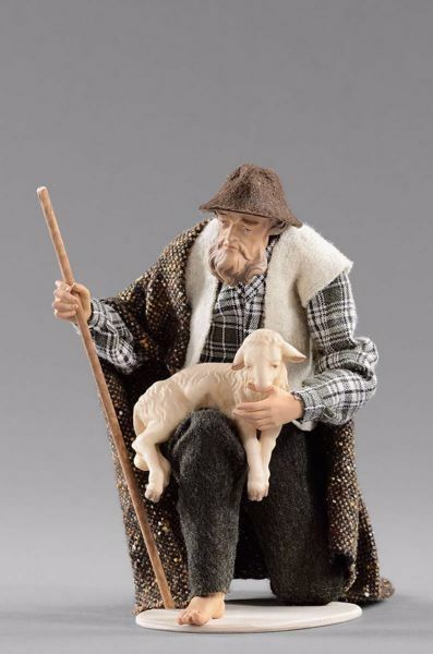 Picture of Kneeling Shepherd with lamb cm 30 (11,8 inch) Hannah Alpin dressed nativity scene Val Gardena wood statue fabric dresses
