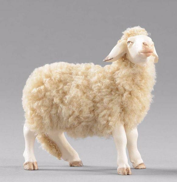 Imagen de Oveja con lana de pie cm 30 (11,8 inch) Pesebre vestido Hannah Alpin en madera Val Gardena