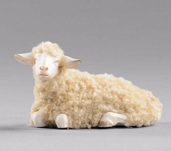 Imagen de Oveja con lana acostada cm 30 (11,8 inch) Pesebre vestido Hannah Alpin en madera Val Gardena
