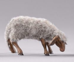 Picture of Grey Sheep with wool cm 30 (11,8 inch) Hannah Alpin dressed Nativity Scene in Val Gardena wood