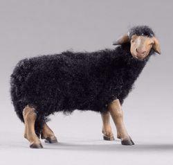 Immagine di Pecora nera con lana cm 30 (11,8 inch) Presepe vestito Hannah Alpin Statua in legno Val Gardena