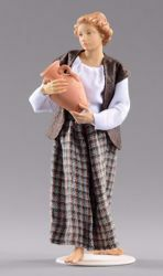 Picture of Woman with Jug cm 30 (11,8 inch) Hannah Alpin dressed nativity scene Val Gardena wood statue fabric dresses