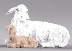 Imagen de Cordero acostado cm 20 (7,9 inch) Pesebre vestido Immanuel estilo oriental estatua en madera Val Gardena