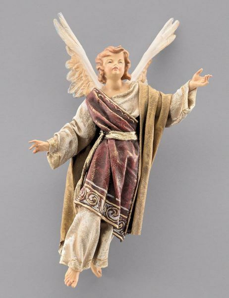 Picture of Glory Angel to hang up cm 20 (7,9 inch) Immanuel dressed Nativity Scene oriental style Val Gardena wood statue fabric clothes
