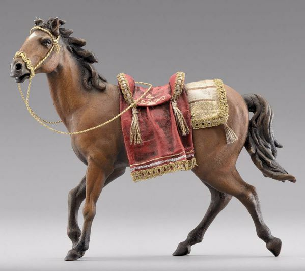 Picture of Horse with saddle cm 20 (7,9 inch) Immanuel dressed Nativity Scene oriental style Val Gardena wood statue