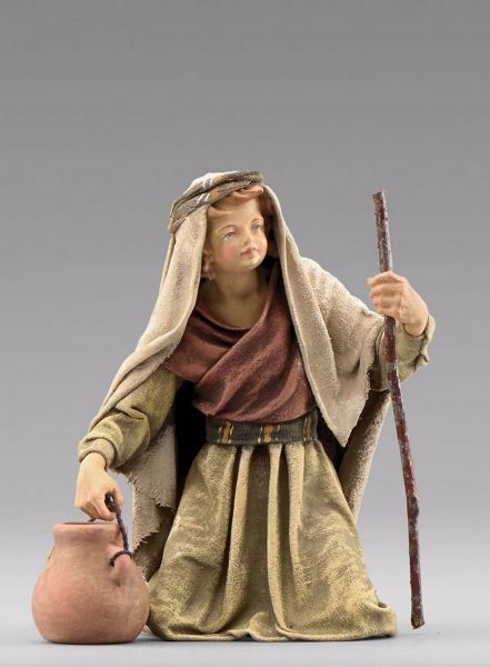 Picture of Kneeling Child with Jug cm 20 (7,9 inch) Immanuel dressed Nativity Scene oriental style Val Gardena wood statue fabric clothes