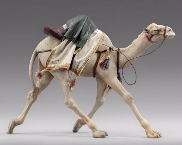 Picture of Camel running cm 20 (7,9 inch) Immanuel dressed Nativity Scene oriental style Val Gardena wood statue