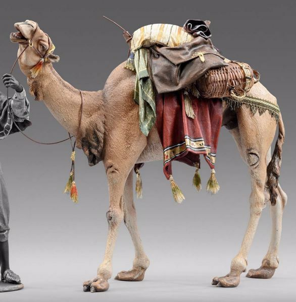 Picture of Standing Camel with saddle cm 20 (7,9 inch) Immanuel dressed Nativity Scene oriental style Val Gardena wood statue