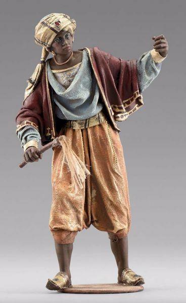 Imagen de Camellero moro de pie cm 20 (7,9 inch) Pesebre vestido Immanuel estilo oriental estatua en madera Val Gardena trajes de tela