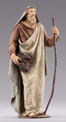 Picture of Shepherd with bag cm 20 (7,9 inch) Immanuel dressed Nativity Scene oriental style Val Gardena wood statue fabric clothes