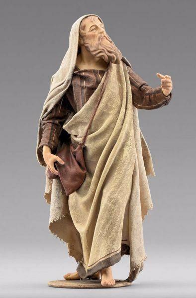 Immagine di Pastore con sacca cm 20 (7,9 inch) Presepe vestito Immanuel stile orientale statua in legno Val Gardena abiti in stoffa