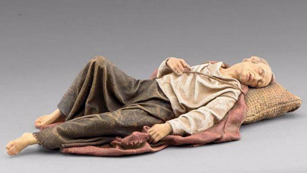Immagine di Pastore dormiente cm 20 (7,9 inch) Presepe vestito Immanuel stile orientale statua in legno Val Gardena abiti in stoffa