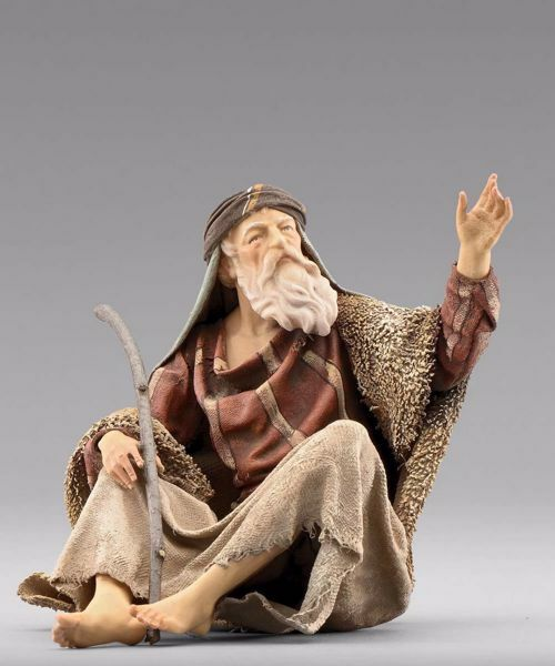 Picture of Shepherd sitting cm 20 (7,9 inch) Immanuel dressed Nativity Scene oriental style Val Gardena wood statue fabric clothes