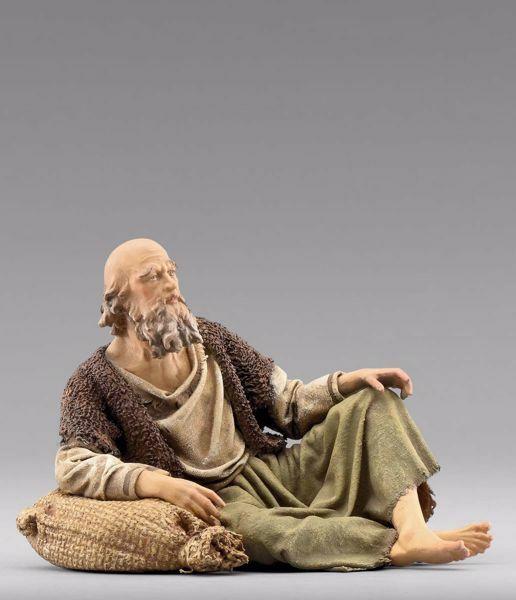 Immagine di Pastore seduto cm 20 (7,9 inch) Presepe vestito Immanuel stile orientale statua in legno Val Gardena abiti in stoffa