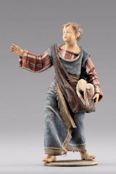 Picture of Shepherd boy with lamb cm 20 (7,9 inch) Immanuel dressed Nativity Scene oriental style Val Gardena wood statue fabric clothes