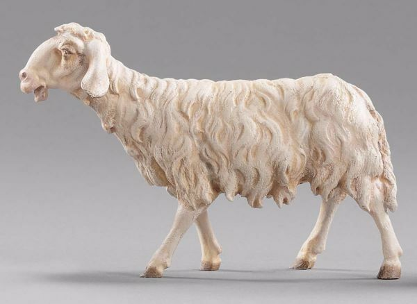 Picture of Sheep walking cm 20 (7,9 inch) Immanuel dressed Nativity Scene oriental style Val Gardena wood statue
