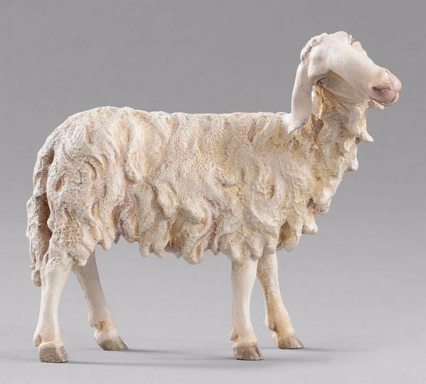 Picture of Sheep looking rightwards cm 20 (7,9 inch) Immanuel dressed Nativity Scene oriental style Val Gardena wood statue