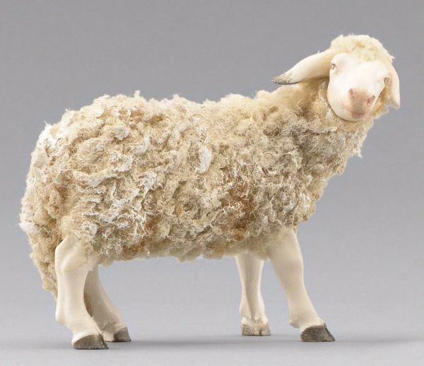 Immagine di Pecora con lana che guarda a destra cm 20 (7,9 inch) Presepe vestito Immanuel stile orientale statua in legno Val Gardena