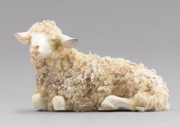 Immagine di Pecora con lana sdraiata cm 20 (7,9 inch) Presepe vestito Immanuel stile orientale statua in legno Val Gardena