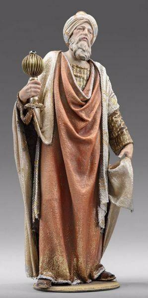 Imagen de Gaspar Rey Mago Blanco de pie cm 20 (7,9 inch) Pesebre vestido Immanuel estilo oriental estatua en madera Val Gardena trajes de tela