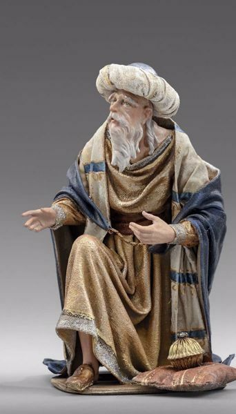 Picture of Melchior Saracen Wise King kneeling cm 20 (7,9 inch) Immanuel dressed Nativity Scene oriental style Val Gardena wood statue fabric clothes
