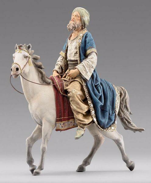 Immagine di Re Magio a cavallo cm 20 (7,9 inch) Presepe vestito Immanuel stile orientale statua in legno Val Gardena abiti in stoffa