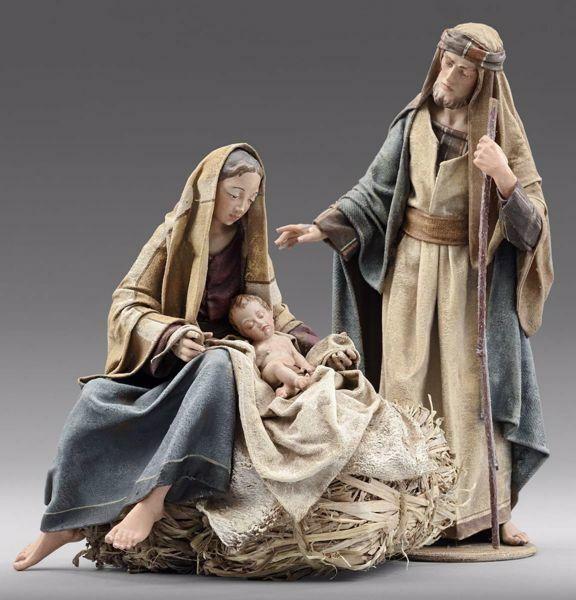 Immagine di Sacra Famiglia (2) Gruppo 2 pezzi cm 20 (7,9 inch) Presepe vestito Immanuel stile orientale statue in legno Val Gardena abiti in stoffa