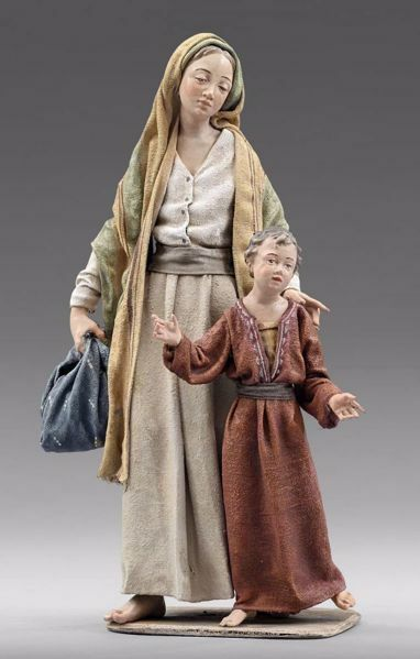Picture of Mother with Child cm 20 (7,9 inch) Immanuel dressed Nativity Scene oriental style Val Gardena wood statue fabric clothes