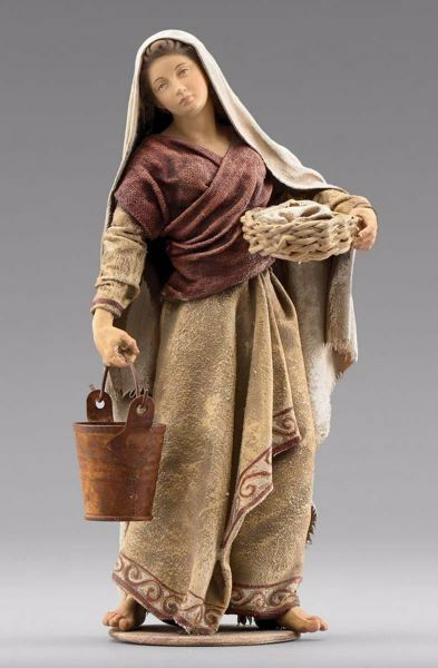 Picture of Woman with bucket cm 30 (11,8 inch) Immanuel dressed Nativity Scene oriental style Val Gardena wood statue fabric clothes