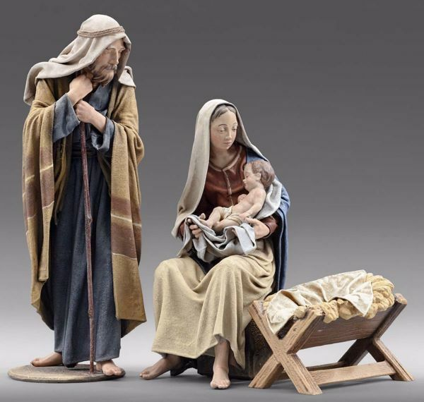 Picture of Holy Family (3) Group 3 pieces cm 30 (11,8 inch) Immanuel dressed Nativity Scene oriental style Val Gardena wood statues fabric clothes