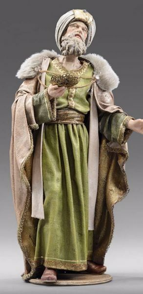 Picture of Melchior Saracen Wise King standing cm 30 (11,8 inch) Immanuel dressed Nativity Scene oriental style Val Gardena wood statue fabric clothes
