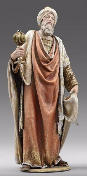 Picture of Caspar White Wise King standing cm 30 (11,8 inch) Immanuel dressed Nativity Scene oriental style Val Gardena wood statue fabric clothes