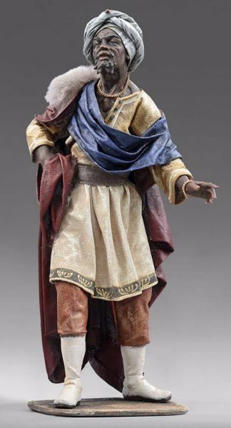 Picture of Balthazar Black Wise King standing cm 30 (11,8 inch) Immanuel dressed Nativity Scene oriental style Val Gardena wood statue fabric clothes